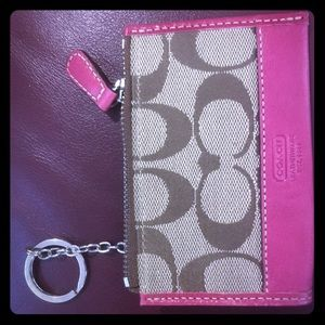 Coach keychain money wallet pink leather zipper